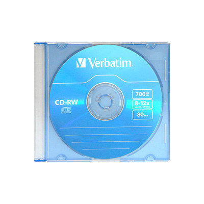 Диск/Verbatim/CD-RW/700Mb 8x-12x/Slim Case/Color